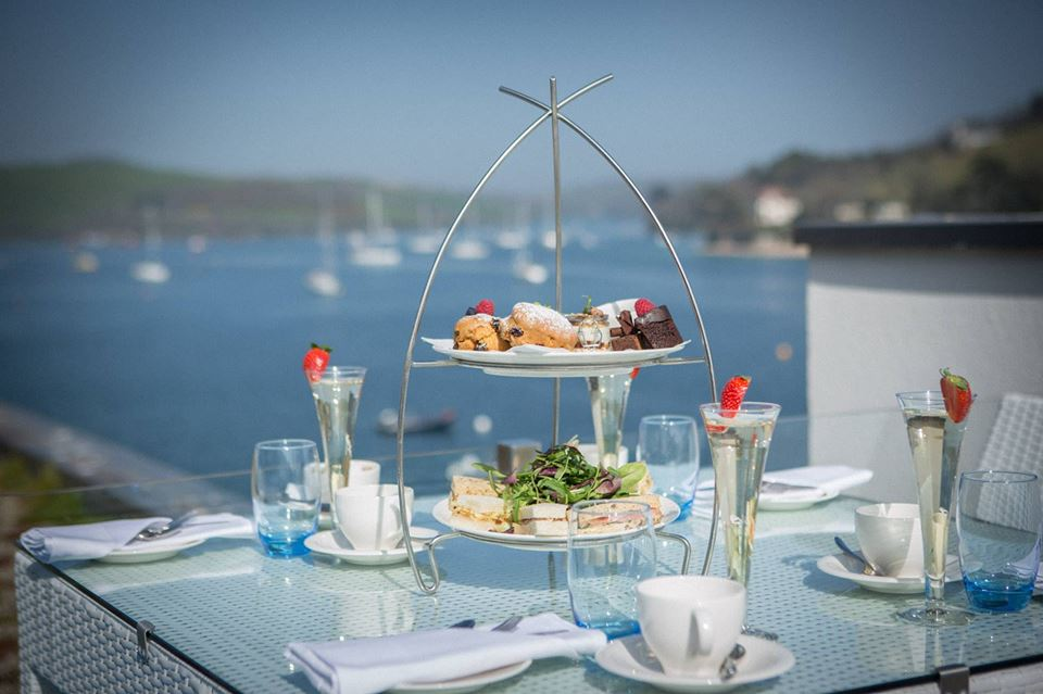 Salcombe Harbour afternoon tea with a coastal view